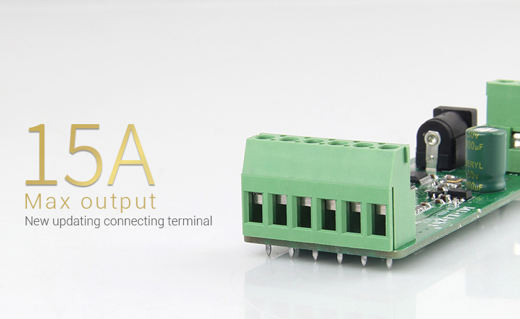 Higher load capacity of outputs more possibilities 15Amp max output new updated terminal