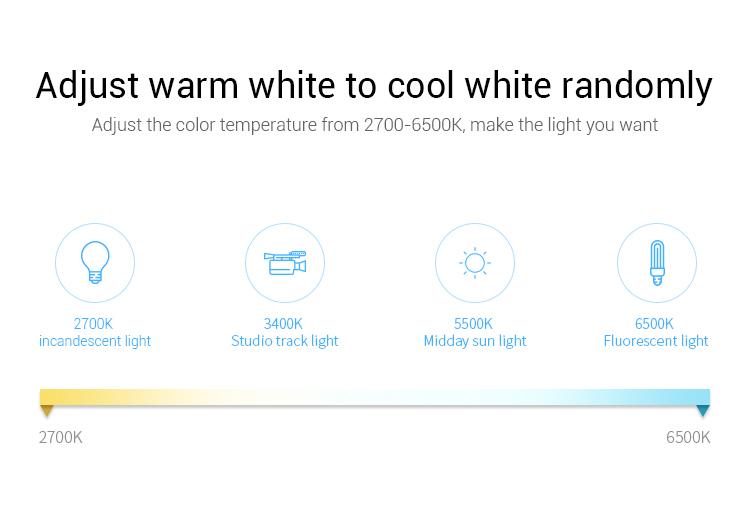 Mi-Light FUT088 CCT adjust warm white to cool white randomly 2700K-6500K inscandescent light studio track light midday sun light fluorescent light