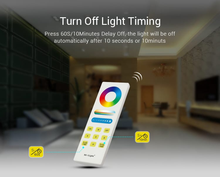 Milight smart remote controller for RGB+CCT lights timing control turn on and off the lights at specific times