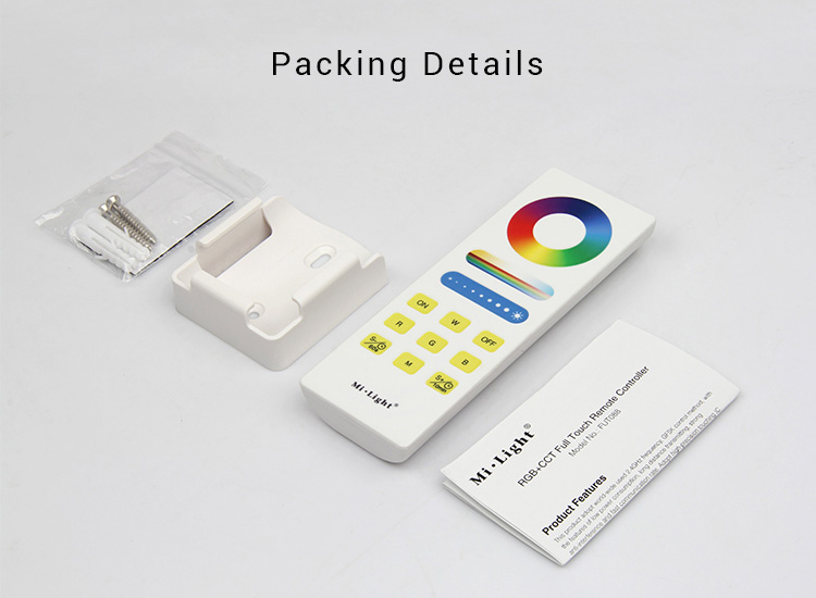 Mi-Light RGB+CCT full touch remote controller FUT088 packaging includes remote controller wall holder mounting screws user manual