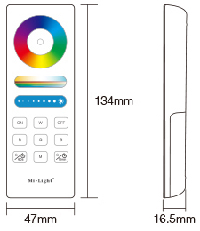 Mi-Light RGB+CCT full touch remote controller FUT088 size product dimensions technical picture