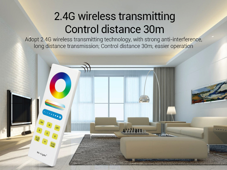 2.4GHz wireless transmitting control distance 30m white smart hand held remote in living room smart home design modern house