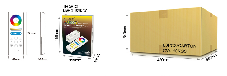 Mi-Light RGB+CCT smart LED control system FUT045A packaging retail colour box brown wholesale box size weight