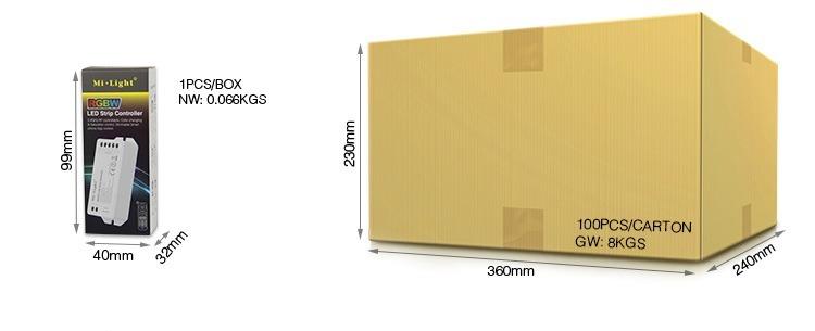 Mi-Light RGBW LED strip controller FUT044 packaging retail box wholesale supplier of smart lighting