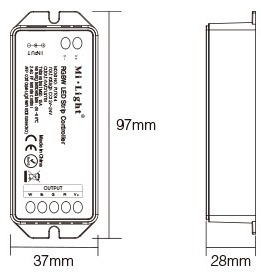 Mi-Light RGBW LED strip controller FUT044 size dimensions technical picture on a white bacground