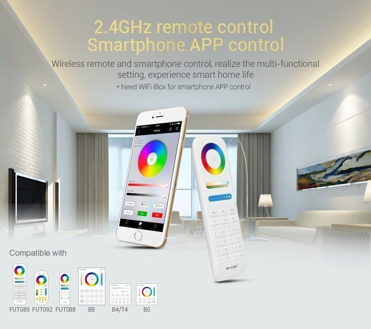 2.4GHz remote control smartphone lighting remote multi-functional lights RGB RGBW RGB+CCT