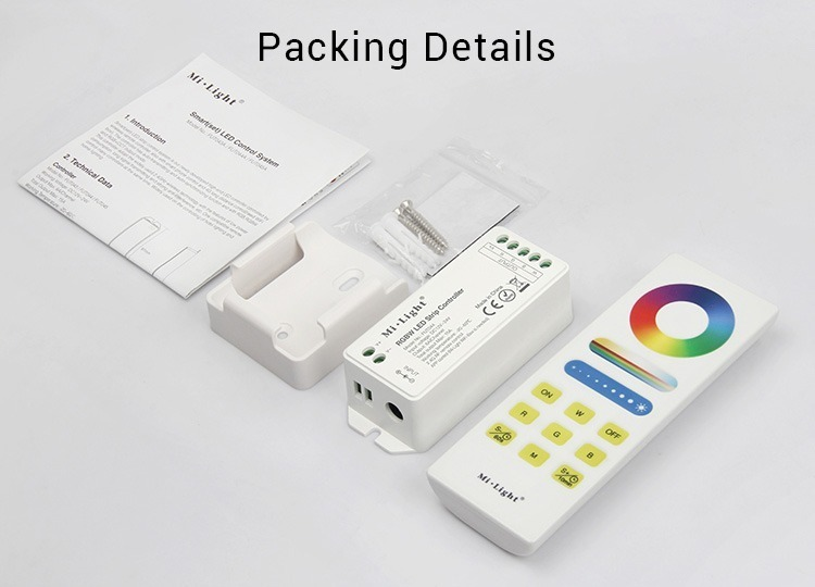 Mi-Light RGBW smart LED control system FUT044A package includes