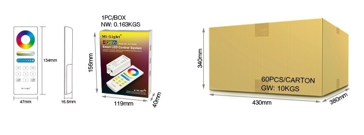 Mi-Light RGBW smart LED control system FUT044A retail and wholesale packaging box