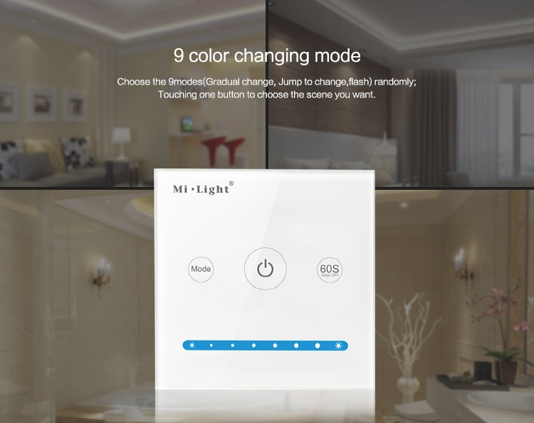 Mi-Light smart panel controller brightness P1 9 colour changing modes
