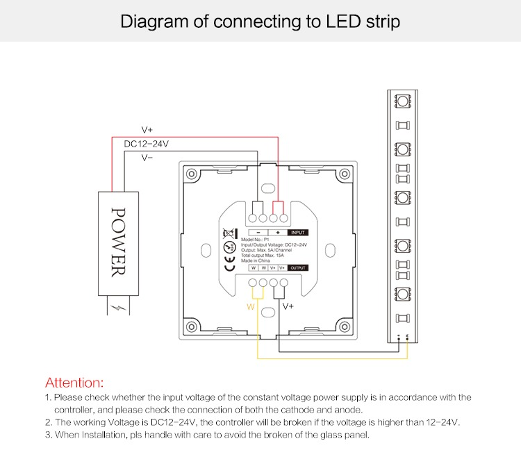 Mi-Light smart panel controller brightness P1 connection diagram