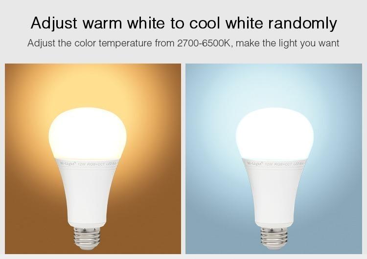 adjust warm to cold white randomly 2700-6500K colour temperature smart light bulb