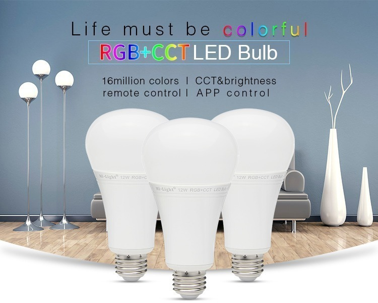 life must be colourful RGB+CCT LED bulbs 16 million colours remote controlled bulb