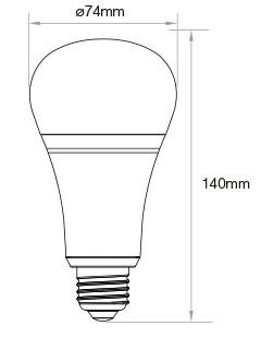 Mi-Light 12W RGB+CCT LED light bulb FUT105 size technical picture dimensions