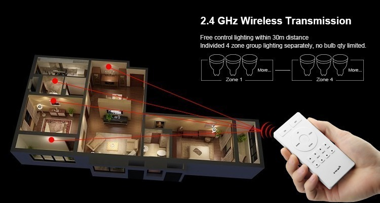 2.4GHz wireless transmission free control within 30m no limit smart bulbs
