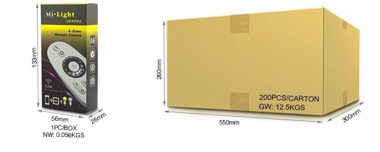 Mi-Light 2.4GHz 4-zone CCT remote controller FUT007 retail & wholesale packaging colour cardboard box