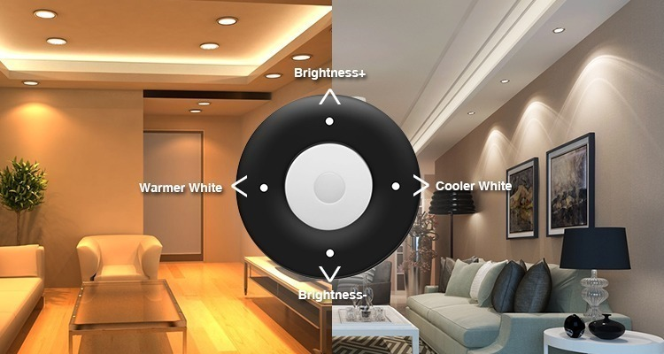 warm sold white colour temperature adjustment brightness dimming remote control functions