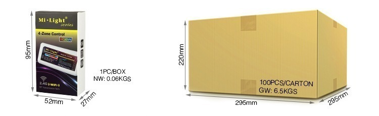 Mi-Light 2.4GHz 4-zone RGBW LED strip controller FUT038 retail packaging size wholesale cardboard box dimensions