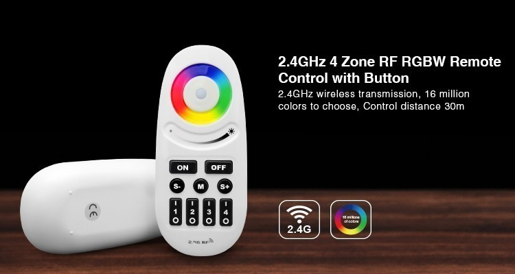 2.4GHz 4-zone RF RGBW remote control with buttons 30m control distance