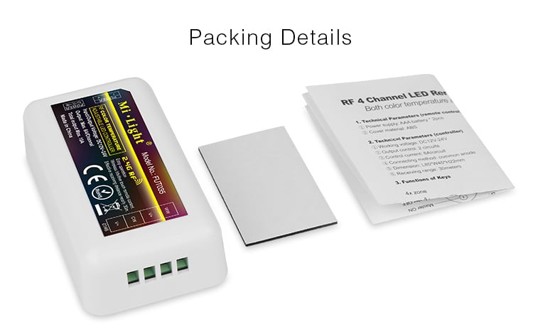 LED strip receiver with adhesive pad and instruction manuals