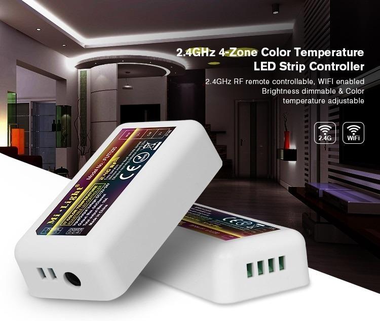 Mi-Light 4-zone colour temperature dual white LED strip controller FUT035 home automation CCT control