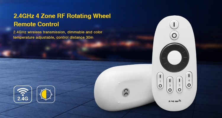 2.4GHz 4-zone RF rotating wheel remote control wireless transmission dimmable