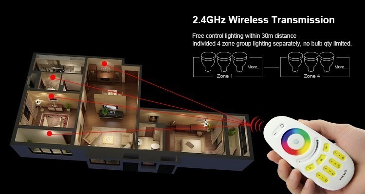 Mi-Light 5W GU10 RGBW LED spotlight FUT018 cold white wireless transmission zone controlled