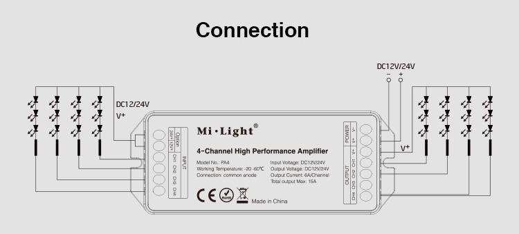 connection diagram mi-light amplifier 4-channels 12V 24V DC V+ 15Amp made in china smart lighting