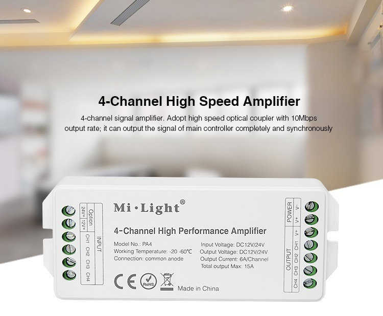 4-channel high speed amplifier signal buster mono strips RGB RGBW LED SMD tapes