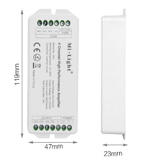 Mi-Light 4-channel high-performance amplifier PA4 size product dimensions technical picture