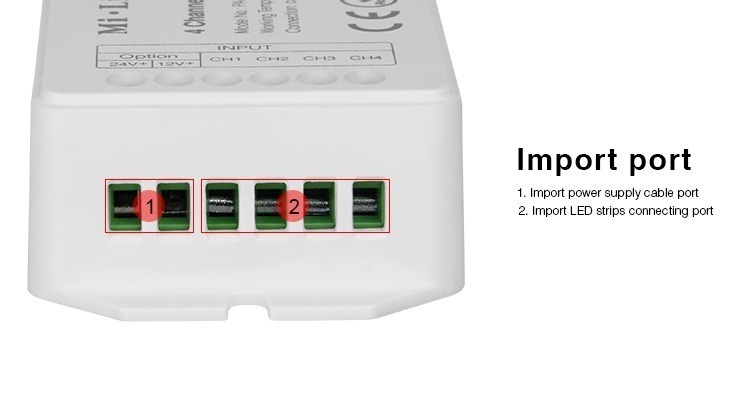 input terminals screw ports DC power supply LED strips amplifier