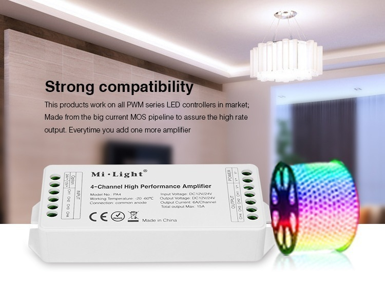 strong compability product works on all PWM series LED controllers in market UK stock milight smart lighting