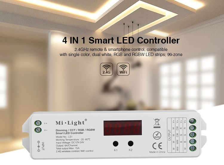 4 in 1 smart LED controller for LED strips 2.4GHz WiFi Mi-Light