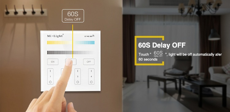 60 seconds delay touch dimmer timer wall panel controller milight white 4-zone plastic glass living room mains