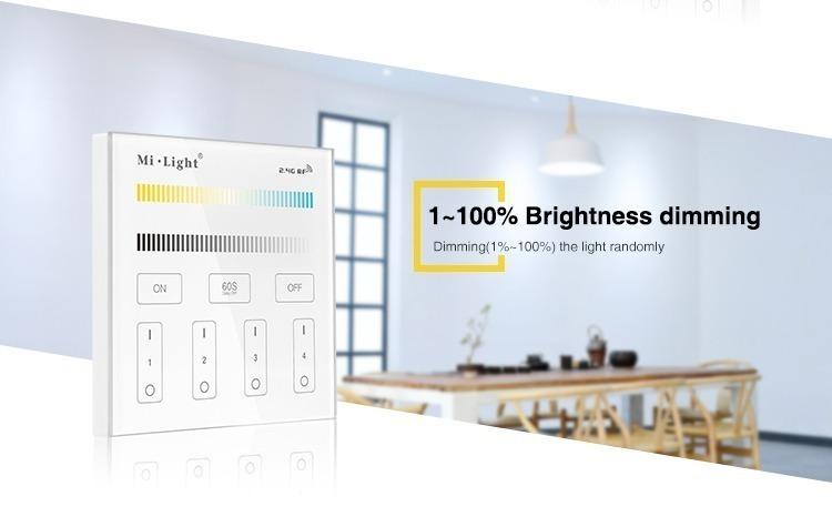 1-100% brightness dimming dimmer adjust brighter darker 50 shades smart remote wall panel