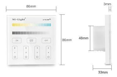 Mi-Light 4-zone CCT adjust smart panel remote controller T2 size product dimensions technical picture