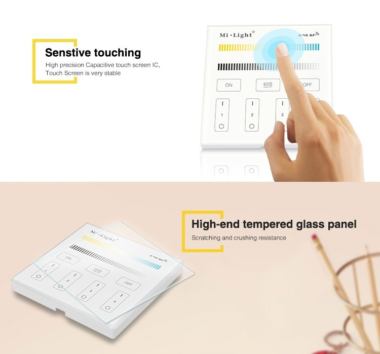 sensitive touching high end tempered glass panel milight control