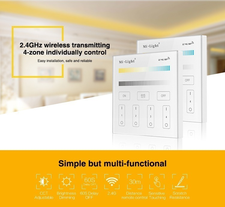 2.4GHz wireless transmitting 4-zone individually controlled simple but multifunctional smart panel