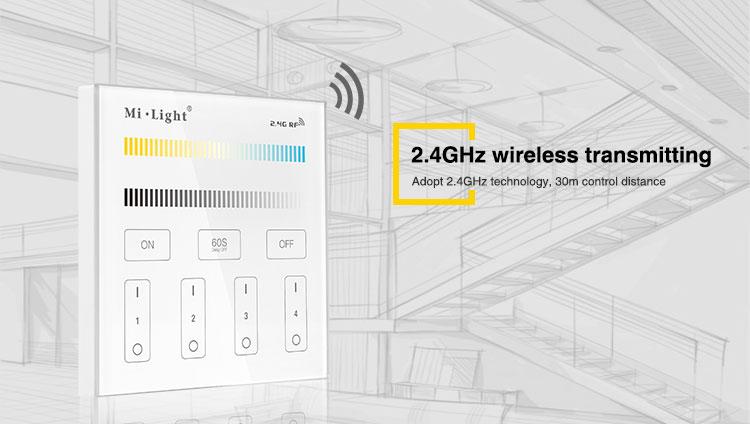 2.4GHz wireless transmitting gaming setup multiwhite dualwhite remote wall panel controller stairs