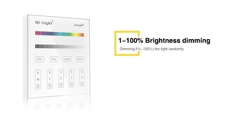 1-100% brightness dimming T3 wall panel dimmer MiLight