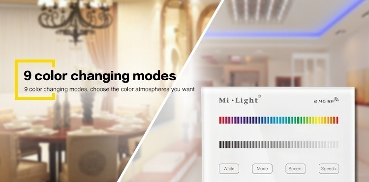 9 colour changing modes choose the colour atmosphere you want Mi-Light T3 wall panel