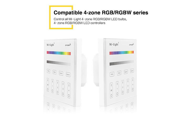 compatible 4-zone RGB RGBW series LED bulbs smart lighting milight wall panel T3