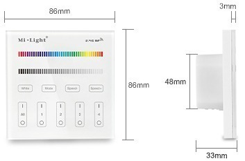Mi-Light 4-zone RGB/RGBW smart panel remote controller T3 size product dimensions