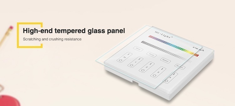 high end tempted glass panel milight T3 RGB RGBW wall controller