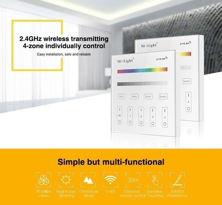 2.4GHz wireless transmitting 4-zone individual control milight smart lighting