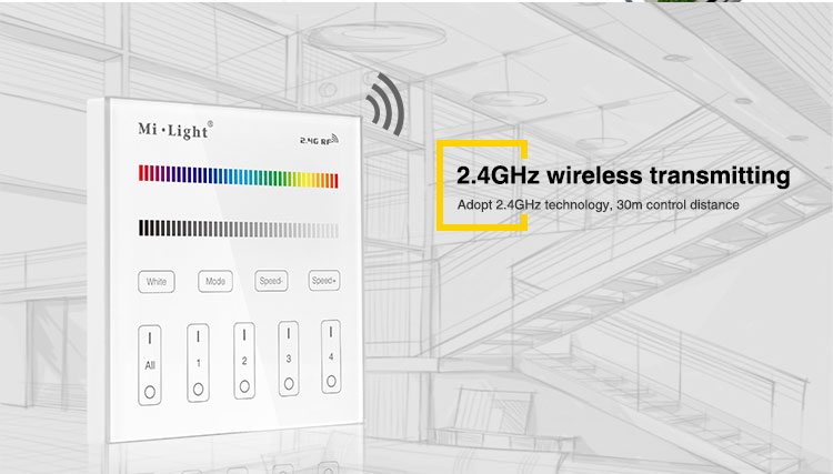 wireless transmitting 2.4GHz WiFi remote controller wall panel