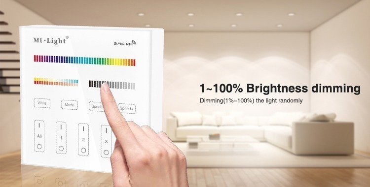 Mi-Light 4 zone RGB+CCT smart panel remote controller B4 brightness dimming dim the light dimmer