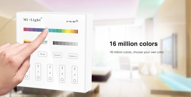 Mi-Light 4 zone RGB+CCT smart panel remote controller B4 16 million colours