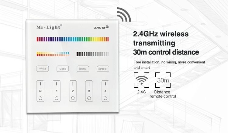Mi-Light 4 zone RGB+CCT smart panel remote controller B4 wireless 2.4GHz transmitting 30m control distance