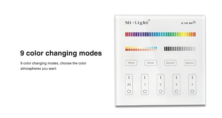 Mi-Light 4 zone RGB+CCT smart panel remote controller B4 9 colour changing modes
