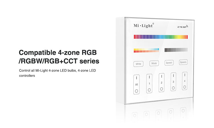 Mi-Light 4 zone RGB+CCT smart panel remote controller B4 compatible with 4-zone RGB RGBW RGBCCT series bulbs downlights floodlights lamps